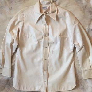 VTG faux leather vinyl women's western shirt cream